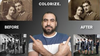 Automatically AI repair, fix and colorize old torn photos with ImageColorizer